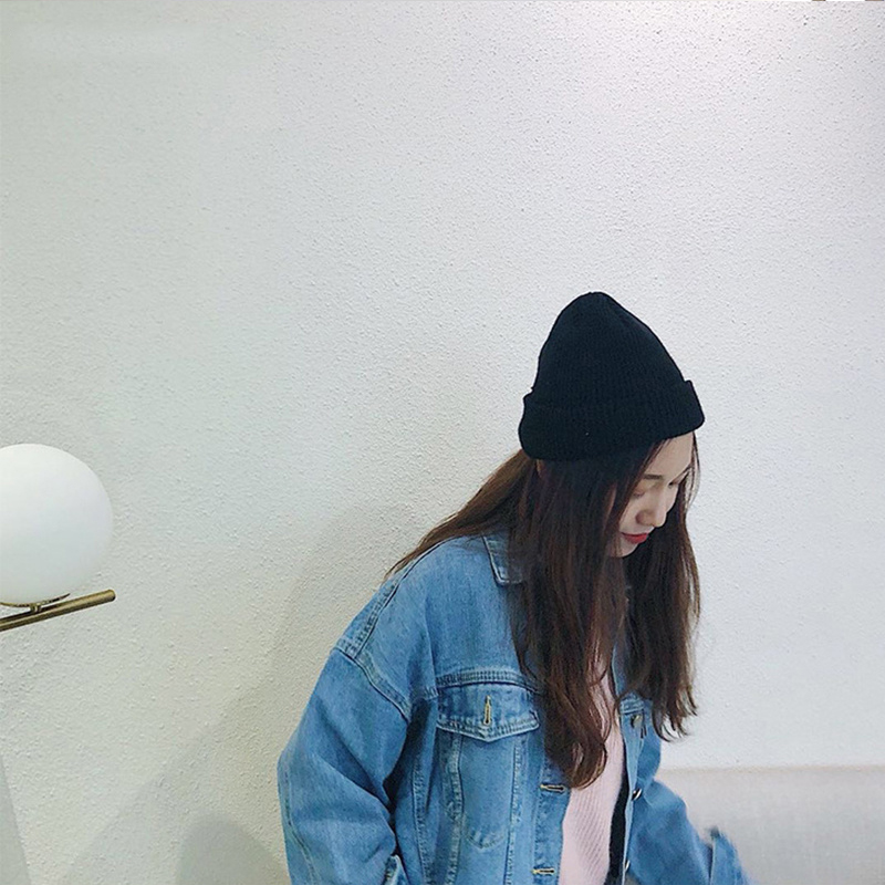2019 New Winter Solid Color Wool Knit Beanie Women Fashion Casual Hat Warm Female Soft Thicken Hedging Cap Slouchy Bonnet Ski 3