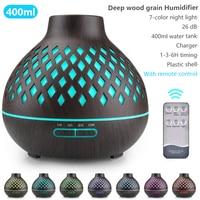 400ML Elektrische Aroma Diffusor Ultraschall-luftbefeuchter LED Lampe Aromatherapie Fernbedienung Holzmaserung Xiomi Öl Diffusor