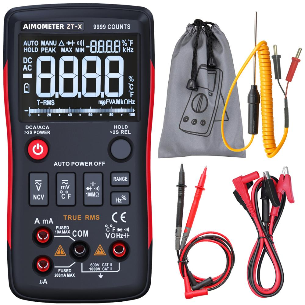 Digital Multimeter Tester 9999 AIMOMETER ZT-X Triple Display  Temperature Voltmeter ACDC Voltage NCV OhmHz Diode Capacitance