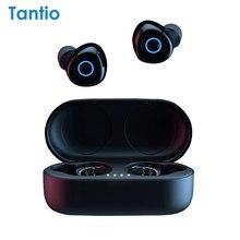 Fones de ouvido sem fio verdadeiros t1, som premium dos fones de ouvido de bluetooth com indicador do diodo emissor de luz/toque esperto/microfone/impermeável/correia