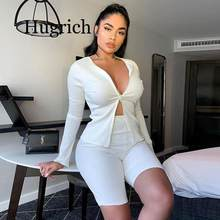 2020 Ribbed Solid Fashion Co-ord Sets Women Zipper Casual Slim White Two Piece Outfits Long Sleeve Top And Biker Shorts Set(China)