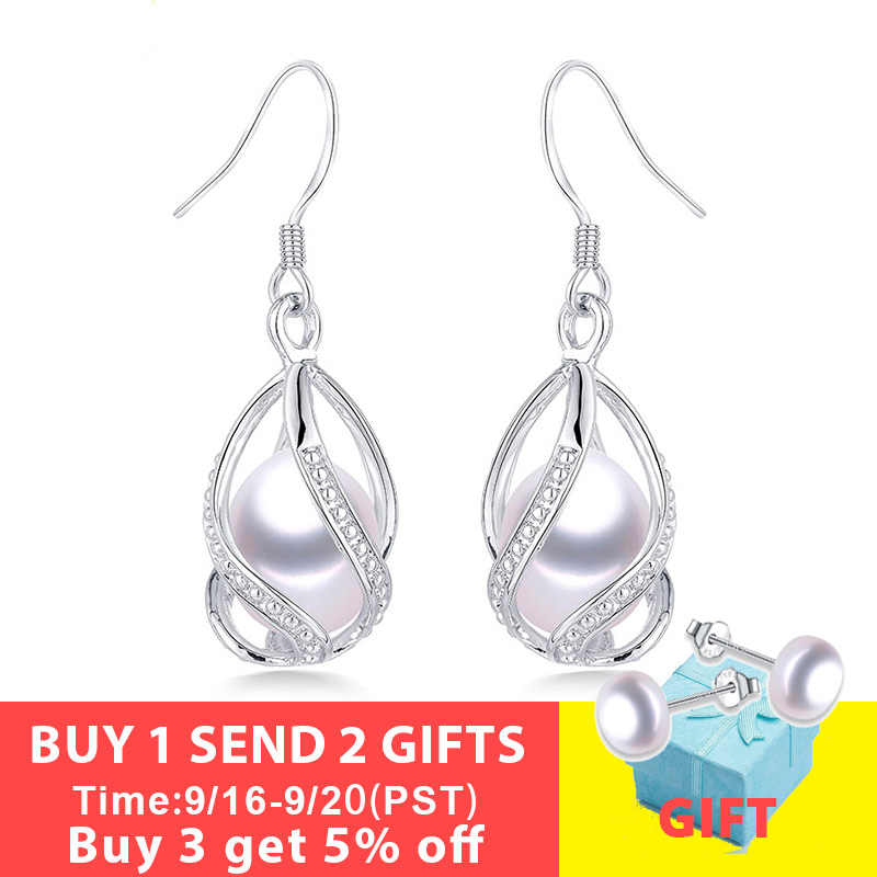 Natural Freshwater Pearl Drop Earrings For Women Elegant 925 Sterling Silver Anti allergy Earrings DIY Cage Jewelry 2019 Lindo