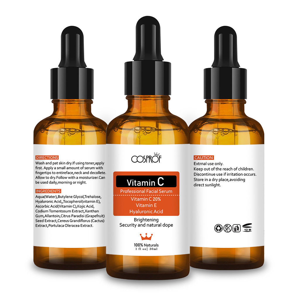 Cosprof Vitamin C Serum Moisturizer Facial Skin Care Set Anti Wrinkle Anti Aging Collagen Essences Liquid