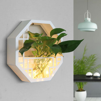 Wall-mounted Flower Pot with Waterproof LED Light Free Punch Succulents Pots Wall Hanging Flower Pots Decorative Pot Plants