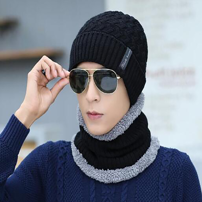 2020 Winter New Men's Suit Knit Hat Scarf Warm Velvet Thickening Skull Men's Solid Color Ski Ladies Hat Scarf Men