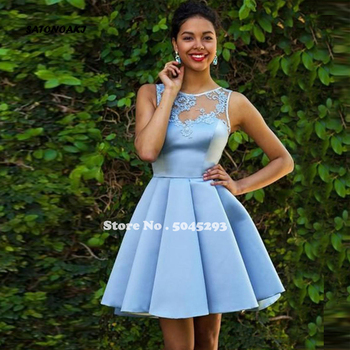 SATONOAKI Light Blue Short Prom Dresses Sleeveless 2019 Lace Applique Ruffle Knee Length Cocktail Party Gowns Sweet Dresses