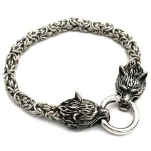 Mens Stainless Steel Jewelry Wolf Amulet Talisman Viking Bra