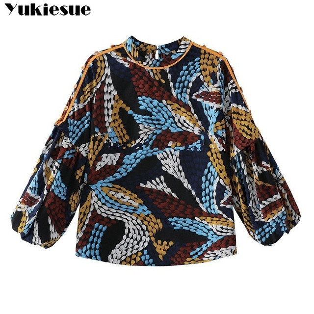 2020 summer long sleeve women's shirt blouse for women blusas womens tops and blouses printed shirts ladie's top plus size 6