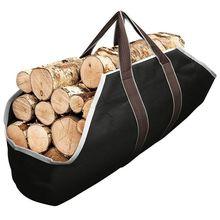 Leinwand Tote Tasche Träger Innen Kamin Brennholz Totes Halter Runde Woodpile Rack Feuer Holz Carrier Tragetasche für Outdoor Tubu