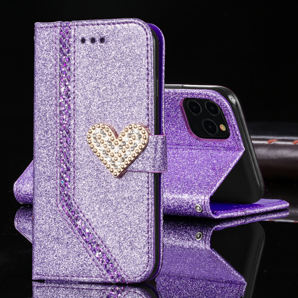 Iphone 11 Pro Max Case With Card Holder | Card Holder Cellphone Case For IPhone 11 Pro Max Xs Xr X 7 8 Plus 6 6s 5 5s SE 2020 Glitter Magnetic Leather Flip Wallet Cover