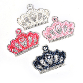 3D Pearl Crystal Rhinestone crown Patches for Clothing Iron on Clothes Appliques Badge Stripes Fabric Sticker Apparel Supply image