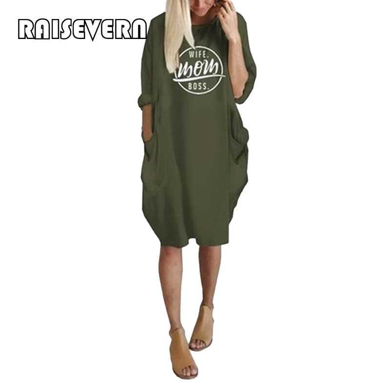 Kobiety dorywczo luźna sukienka z kieszeni moda damska O Neck długi topy zieleń wojskowa kobiet T koszula sukienka Streetwear Plus rozmiar