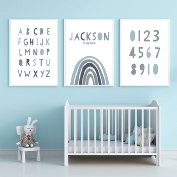 ABC Alphabet Art Print Custom Name Birth Date Rainbow Wall Art Canvas Number Painting Nursery Wall Poster For Baby Room Decor black white baby animal rabbit tail canvas art print and poster nursery bunny canvas painting for kids room nordic wall decor