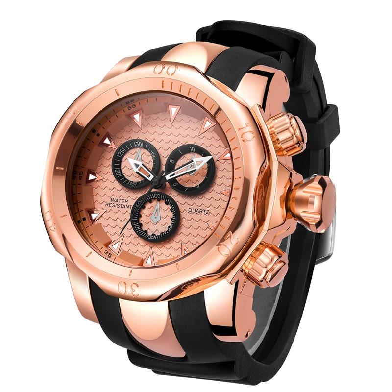 Top Marke Echte männer uhren sport uhr GROßE Zifferblatt gold quarzuhr Spezielle geschenk für männer Klettern Armbanduhren montre homme - 3