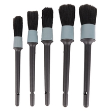5Pcs Car Brush Cleaning Natural Boar Hair Brushes Auto Detail Tools Wheels Dashboard Detailing Tool