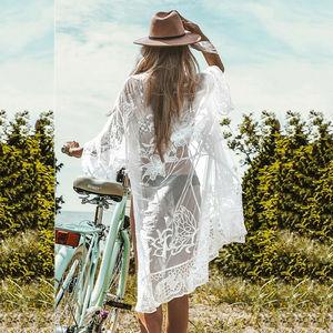 Imcute 2020 sweter plażowy okrycie na kostium kąpielowy kwiatowy haft osłona do bikini Up stroje kąpielowe damska suknia De Plage okrycie plażowe w górę