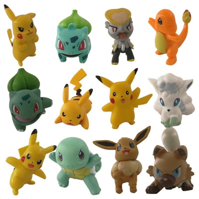 4-6cm Pokemon Charmander Popplio Litten Pikachu Rowlet Treecko Eevee Fennekin Anime Action Figure Dolls Toy for Children Gift