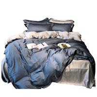 Double sided Tencel bedding set simple solid color matching embroidery four piece duvet cover 1.8M Bed linens home