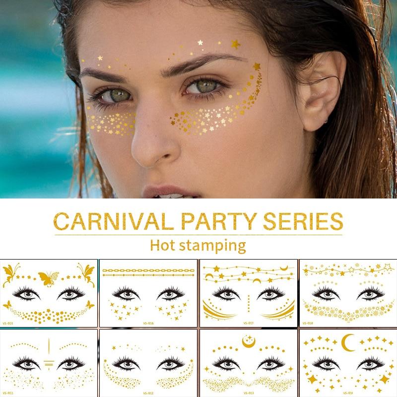 Temporary Face Tattoos Jewelry Stickers Waterproof Temporary Tattoo Metallic Gold Tattoo Face Neck Makeup Tatoo Fake Girl Decal