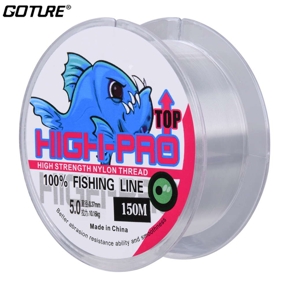 Goture 150M Nylon Fishing Line 9-22LB TRANSPARENT Monofilament Super Strong Lines Carp Fishing Cord For Freshwater Saltwater