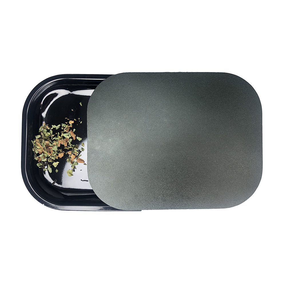 18x14cm Rolling Tray Magnetic Lid Set Tobacco Herb Grinder Smoke Accessories Tin Metal Black Manual Cigarette Paper Roller Plate 1