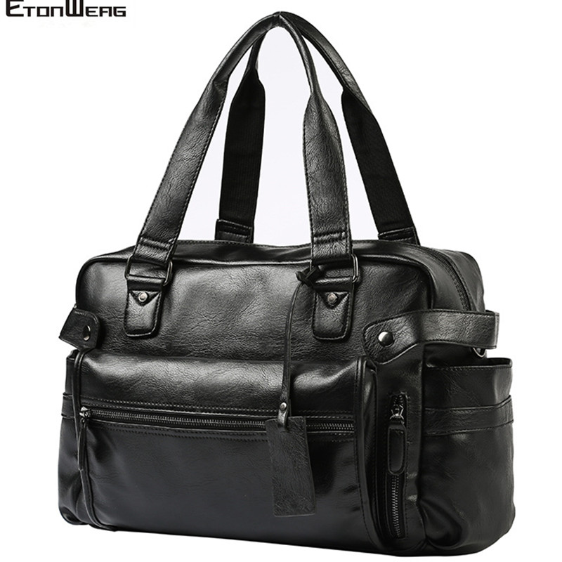 Men's Men's Business Office Briefcase Waterproof PU Leather Handbag Male Large Solid Travel Bag Casual Laptop Tote Multifunction