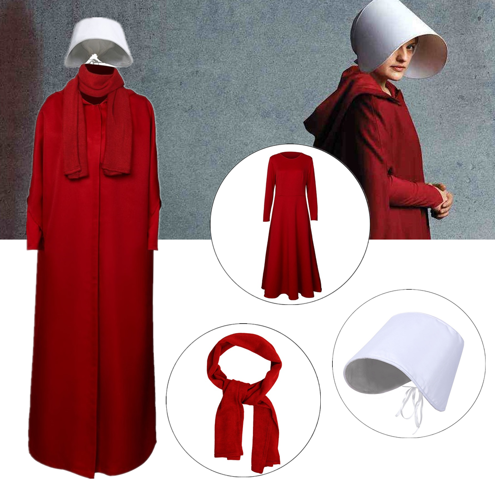 Takerlama The Handmaid's Tale Cosplay Costume Handmaid Offred Women Red Cloak Dress Scarf White Hat Set Halloween Party Props