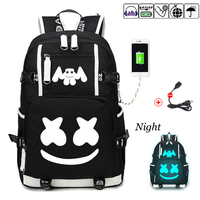 Marshmallow school backpacks USB charging for teenagers Men women's Student School Bags travel Luminous Shoulder bag