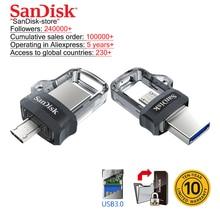 цена на SanDisk Original OTG USB Flash Drive 32GB 16GB USB 3.0 Dual Mini Pen Drives 128GB 64GB PenDrives for PC and Android phones