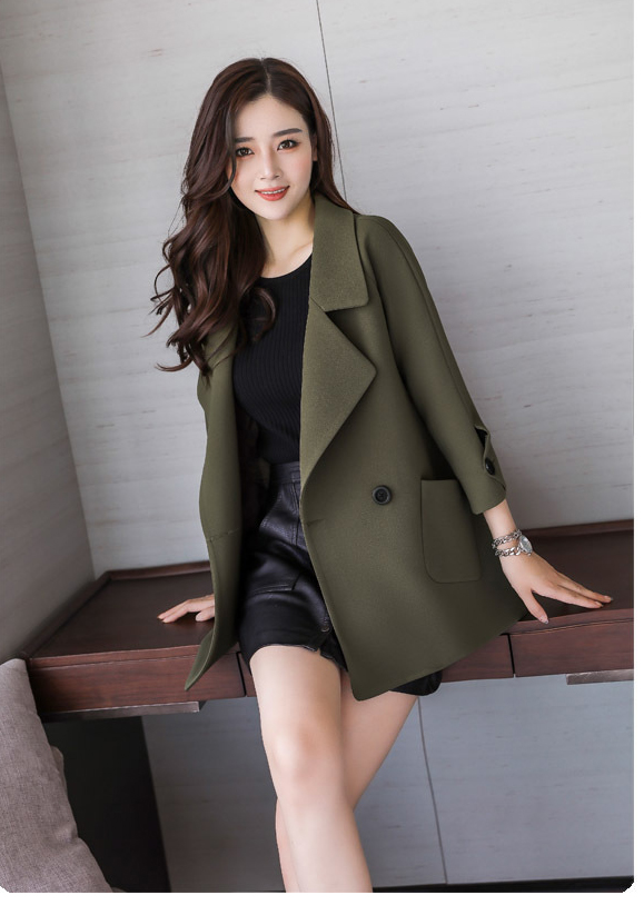 Autumn jacket women M-2XL plus size pink green beige coat 19 new long sleeve lapel fashion short paragraph jacket feminina LR484 41