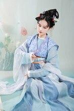 Original Tang dynasty women's embroidered short pylon waist 16 broken cross skirt round neck shirt