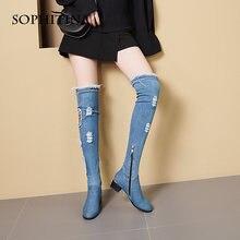 Женские джинсовые сапоги выше колена sophitina заостренный носок