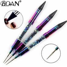 Bqan 1 pçs deslumbrante dupla-ended prego pontilhar caneta contas de cristal lidar com strass studs picker cera lápis manicure unha arte ferramenta