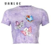 Топы с изображением кота и галстука красителя облегающая футболка