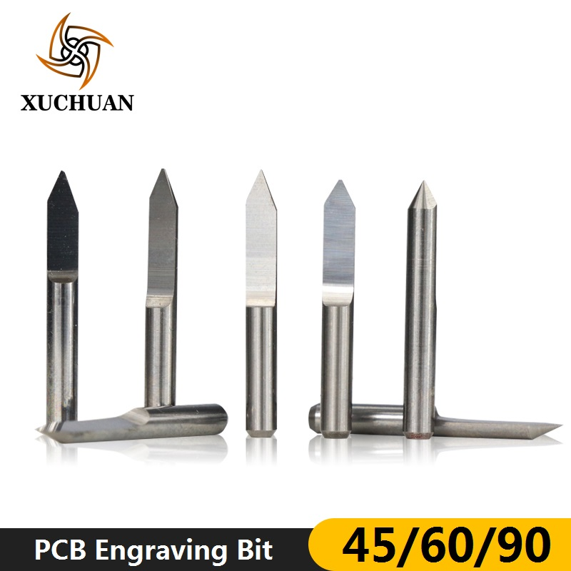 10pcs 45/60/90 Degrees Flat Bottom PCB Engraving Bit For PCB Machine V Shape 3D Milling Cutter Tungsten Carbide Engraving Bit
