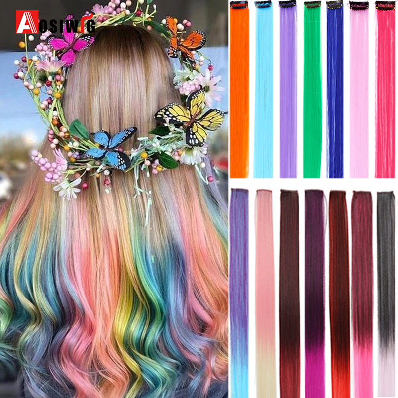 AOSI Fake Hair Extensions Highlight Colored Strands Of Hair On Hairpins Synthetic Natural Hair Extensions Clip Hairpiece Rainbow