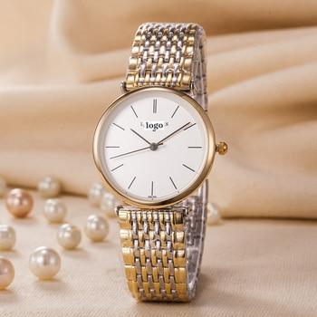 Часы женские кварцевые, роскошные простые брендовые водонепроницаемые золотистые, с сетчатым ремешком и без вышивки