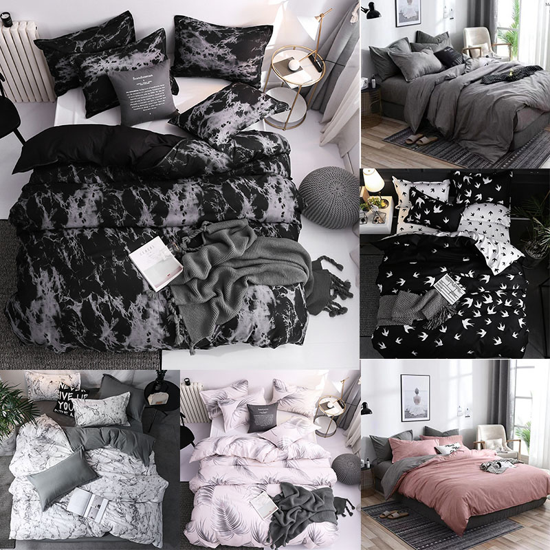 Marble Black White Adult Bedding Set Polyester Solid Pink Bedclothes Nordic Home Duvet Cover Pillowcases Single Twin Double