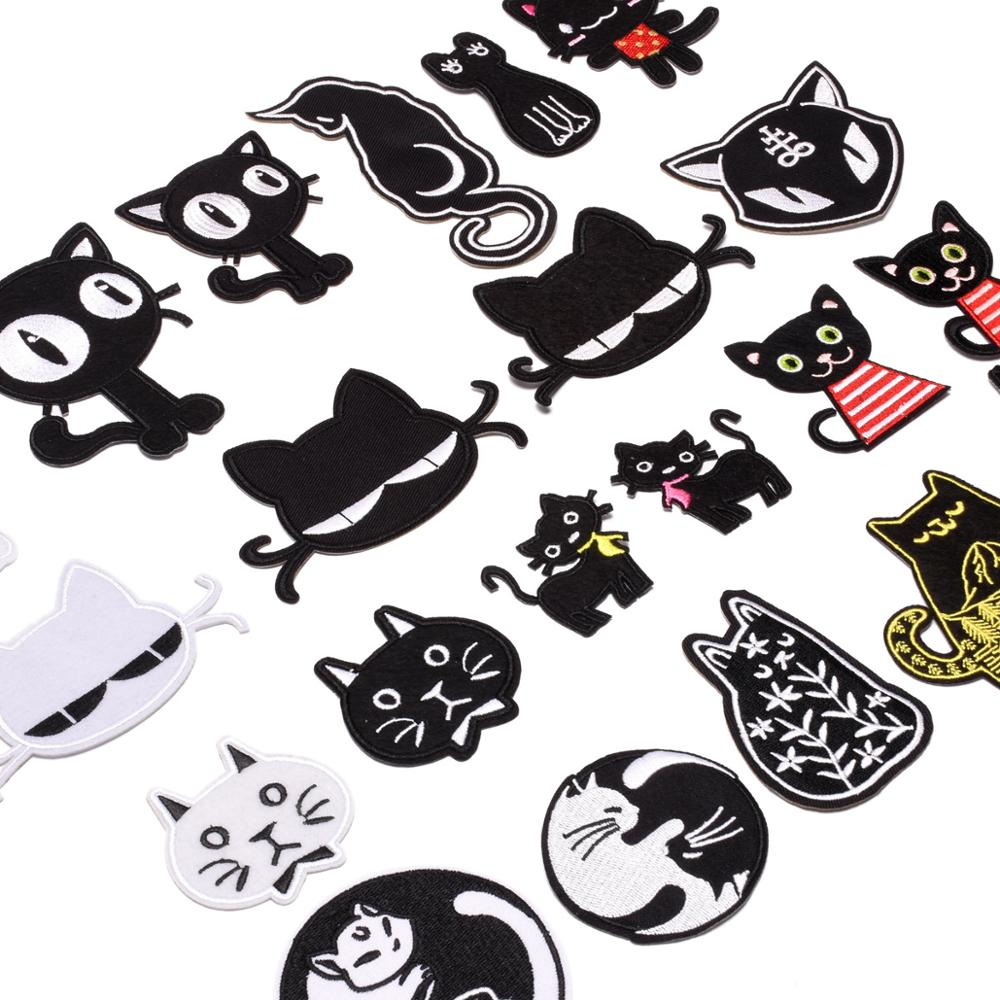 Punk Style Taichi Cats Black Cartoon White cute kids Appliques Patches Iron On Sewing Embroidery Badges label