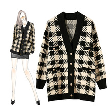 2019 Autumn Winter Classic Print Plaid Sweater Cardigan for Women Singer Button Knitted Open Switch Casual Sweaters with Pocket autumn scrawl plaid print irregular cardigan