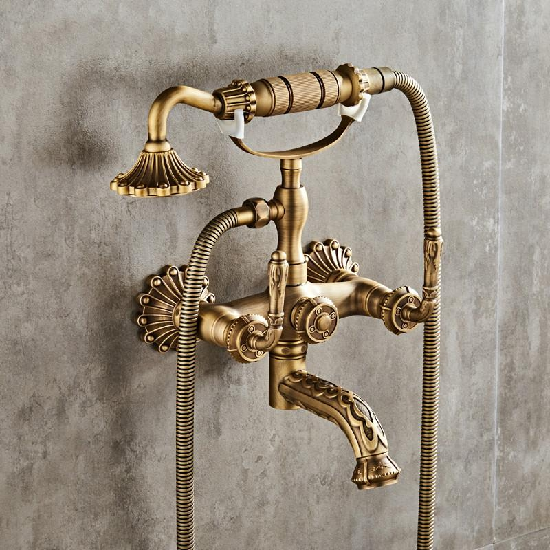 Luxury Antique Brass Bathroom Faucet  Mixer Tap Wall Mounted Hand Held Shower Head Kit Shower Faucet Sets