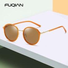 FUQIAN 2019 New Luxury Round Women Polarized Sunglasses Brand Design Metal Frame Ladies Sun Glasses Mirror Pink Eyewear Oculos