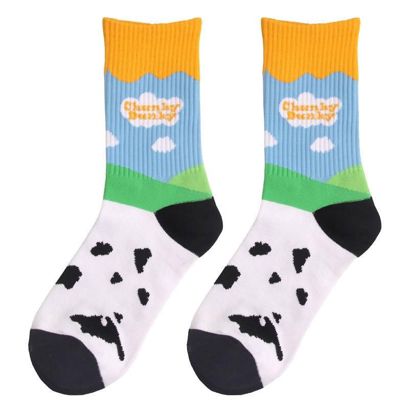 Хлопковые носки для взрослых, короткие носки для молочного скота с изображением фермы, голубого неба, черного, белого облака, Sb коровы, скота...