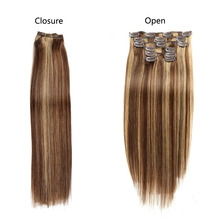 Human Hair Extensions Straight Full Head Set