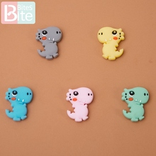 10pcs Mini Dinosaur Baby Silicone Teether Beads Tiny Rod Rodent DIY Nursing Necklace Bracelet Pacifier Chain Kid Product