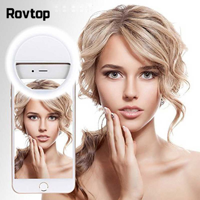 Rovtop USB LED Selfie Ring LightสำหรับIphoneเสริมแสงSelfieเติมแสงสำหรับโทรศัพท์