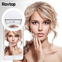 Rovtop USB 충전 LED Selfie 링 라이트 아이폰에 대 한 보충 조명 Selfie 전화에 대 한 채우기 빛을 강화