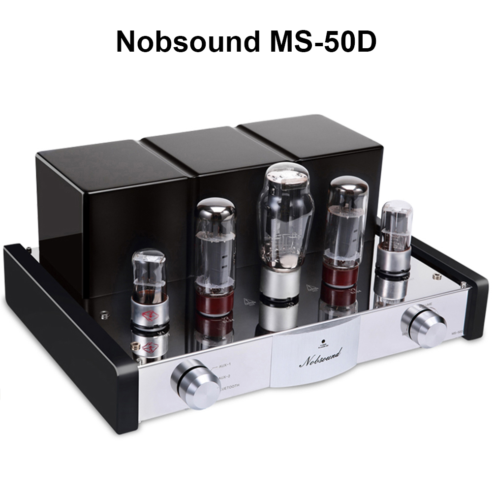 Nobsound MS-50D HI-FI Bluetooth Tube Amplifier 2.1 Channel Amp Vacuum Tube AMP support Bluetooth and USB MS-10D,30D Upgraded image