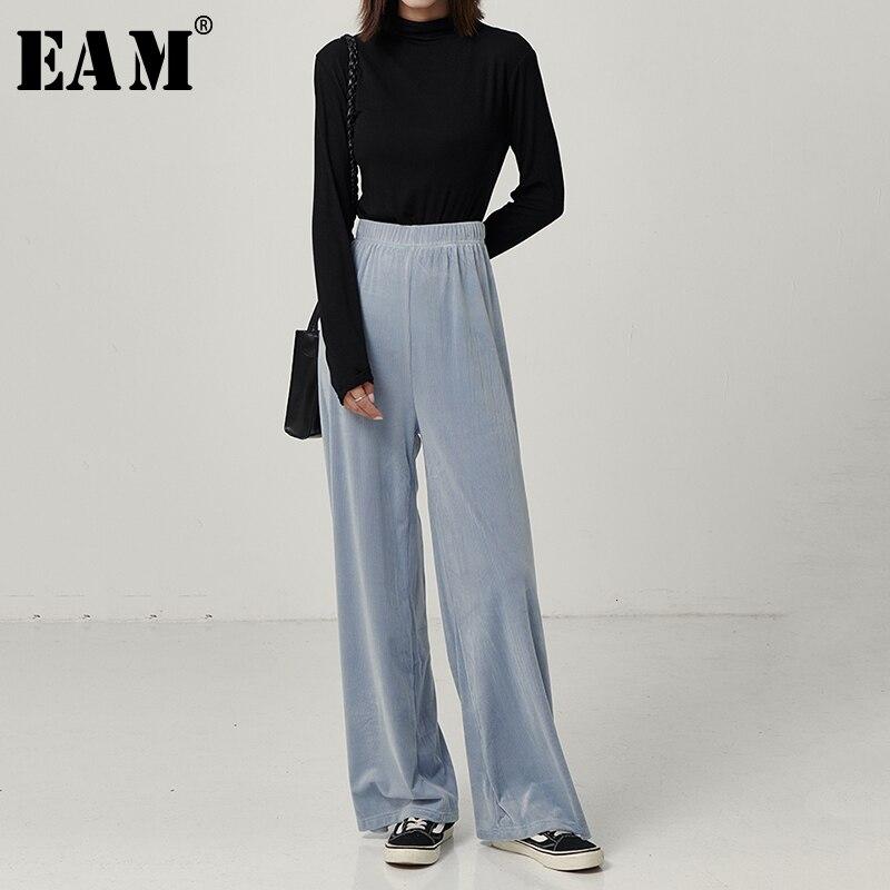[EAM] High Elastic Waist Blue Long Wide Leg Velvet Trousers New Loose Fit Pants Women Fashion Tide Spring Autumn 2019 1D116