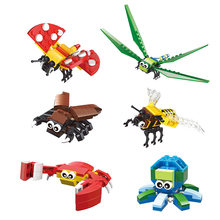 Ahtapot yapı taşları modeli çocuk oyuncakları simülasyon böcekler montaj tuğla figürü bebek eğitici oyuncaklar çocuklar için